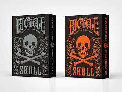 Set of 2 Bicycle Skull Orange & Mettalic Silver Playing Card Decks New