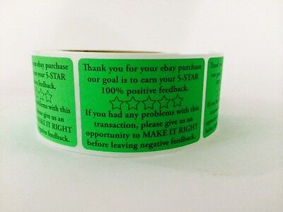 Thank You for your eBay Purchase/FB 2x3 Green Fluorescent Color 100 NEW Sticker