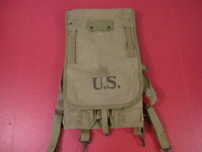 WWII US Army M1928 Haversack Pack Khaki Color Complete - Dated 1942 - XLNT #2