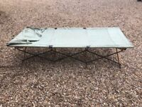 WWII British Army folding wood and canvas camp bed