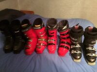 Four pairs of ski boots (sizes 6-9 approx) for sale as job lot. Good condition