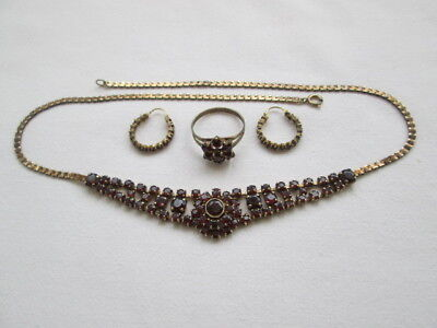 Granatschmuck Set alt - Collier 925 S vergoldet - Paar Ohrringe + Ring Gold 333