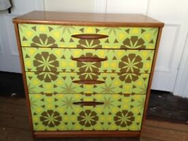 Funky chest of drawers, retro 60s original with eye-catching drawer fronts