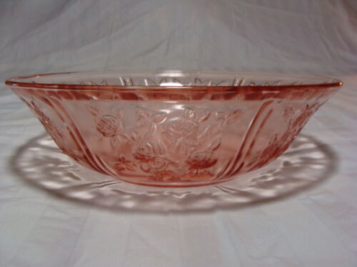 Pink Glass Serving Bowl With Rose Design