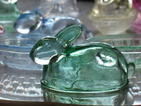 Glass Bunny Rabbit Covered Candy Dish