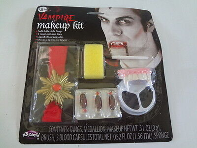 Halloween Vampire Make Up Kit Dracula Medallion Fangs Blood Count