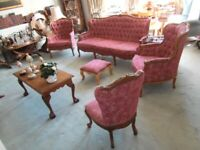 Classic Five Piece Saloon Suite Button Studded Rose Chenille