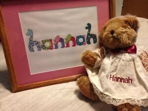 """Personalized Bear & Name art for """"Hannah"""""""