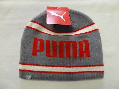Puma Stripe Fleeced Lined Beanie Gray/Red/White NEW 8301 White Stripe Beanie