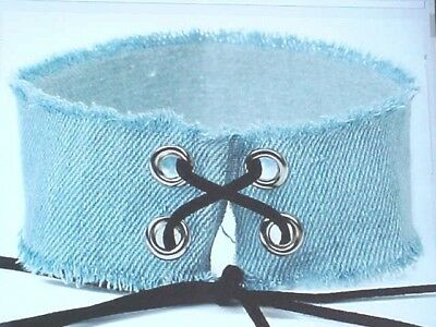 W 180  Vogue In Tending Style Lite Blue Jean Material Chocker Necklace   Lace Up