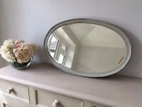 Beautiful vintage / antique oval grey rimmed mirror (32 x 20 inches)