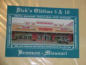 vintage DICK'S OLD TIME 5 & 10 post card Branson Missouri