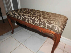 antique French Provincial bench with new fabric