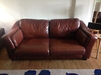 3 seater sofa and 2 arm chairs in chestnut brown leather