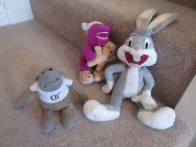 Barney Dinosaur/Bugs Bunny & Tetley Monkey Soft Toys