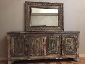 Negotiable! Beautiful recycled wood dresser and Akal mirror