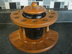 SOLID WOODEN 7 - SMOKING PIPE STAND with HUMIDOR