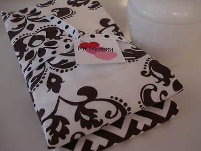 2 Boutique Baby Burp Cloths - Boutique Burp Cloth Cloths Brown White Damask Print Baby Girls BCMM Set of 2