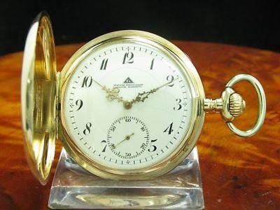 Deutsche Präzisionsuhr Original Glashütte 14kt 585 Gold Savonette Taschenuhr