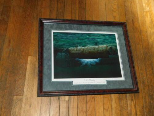 civil war confederate submarine css hunley art coa print 98/400 husatonic 1994