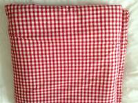 Red and white gingham check material.