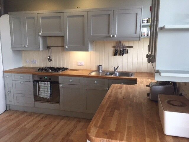 Contemporary Fitted Timber Kitchen Units Duck Egg Blue And