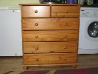 PINE 6 DRAWER CHEST (H 91 cm W 82 cm D 38 cm) - AS NEW.