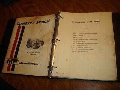 Massey Ferguson 1500 1800 Tractor Service Manual Operators Ah13