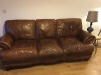 Vintage brown leather sofa - free to a good home! Must collect.