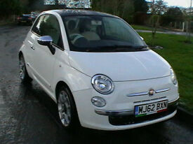 2013 62 REG FIAT 500 LOUNGE 1.2 AUTOMATIC HATCHBACK IN GLEAMING WHITE HPI CLEAR
