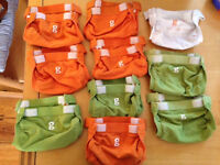 10 washable nappies gnappies - excellent condition - small