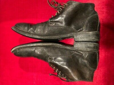 Mens Guidi black Kangaroo Leather lace up ankle boots size 43 excellent