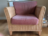 Wicker sofa, chair and table for conservatory/kitchen/sitting room.