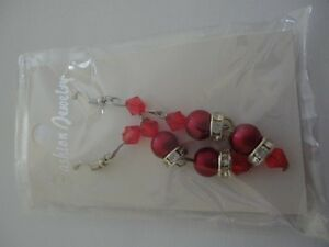 Brand new with tags women's red beaded rhinestone earrings London Ontario image 1