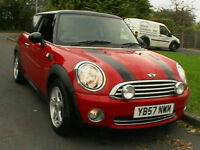 57 REG MINI COOPER 1.6 CHILI 120BHP RED WITH BLACK ROOF AND STRIPES HPI CLEAR