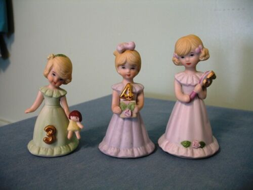 (3)-VINTAGE ENESCO GROWING UP BIRTHDAY GIRL FIGURINES-AGES 3-5--BLOND HAIR-1981!