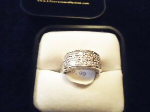 Fifth Avenue - Cluster Swarowski Silver Band Ring NEW Sz 8