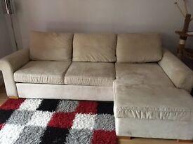 Cream corner chaise sofa