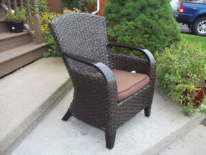 resin wicker cappuccino arm chair with cushion - Garden Furniture Glasgow
