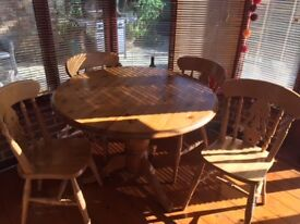 Round pine table & chairs