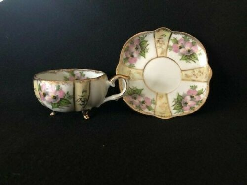 Vintage Napco Footed Teacup & Saucer Hand Painted IDD240
