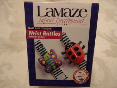 Lamaze 2-Pack Wrist Rattles - Phase 2 - 3 Months and Up - Lady Bug -Butterfly