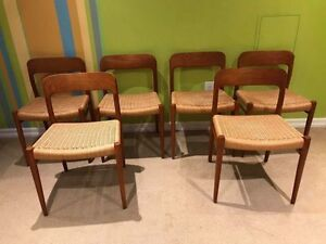 Mid Century Teak Dining Chairs By J.L Moller