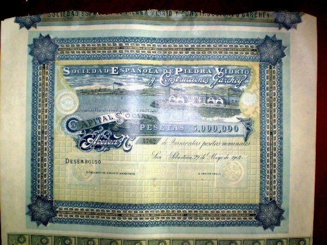 Sociedad Española de Piedra Vidrio,Share certific.1902