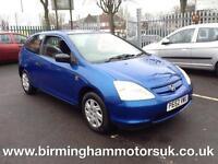 2002 (52 Reg) Honda Civic 1.4 VISION 3DR Hatchback BLUE