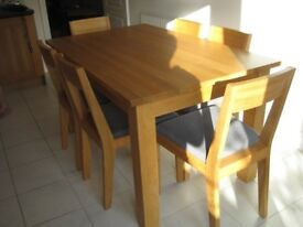 Oak Table with Six Solid Oak Chairs