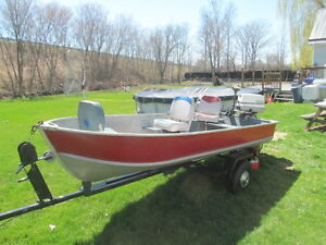 Forsale;;14ft Aluminum Boat, 25 hp Johnson motor, and Trailer,