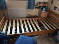 John Lewis solid pine single slatted bed with headboard and base board