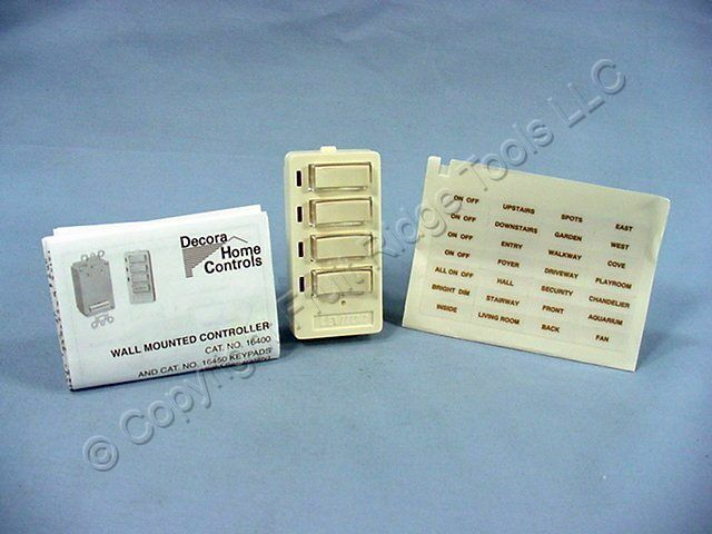 New Leviton Decora Face For DHC Scene Controller 4-Button ON/OFF Almond 16450-SA