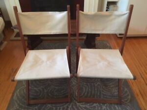 Mid Century Modern 2 Folding Chairs (wood and canvas)